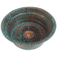 Rustic Decorative Vessel Copper Sink Oxidized Bath Enhancement