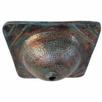 Vintage Oxidized Green Patina Old Fashioned Square Copper Sink