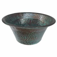 Vintage Oxidized Green Patina Copper Vessel Sink