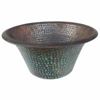 Classic Aged Rustic Oxidized Copper Vessel Sink