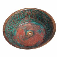 Large Green Patina Rustic Oxidized Copper Sink