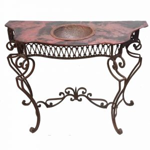 Rustic French Wrought Iron Console Copper Top Vanity