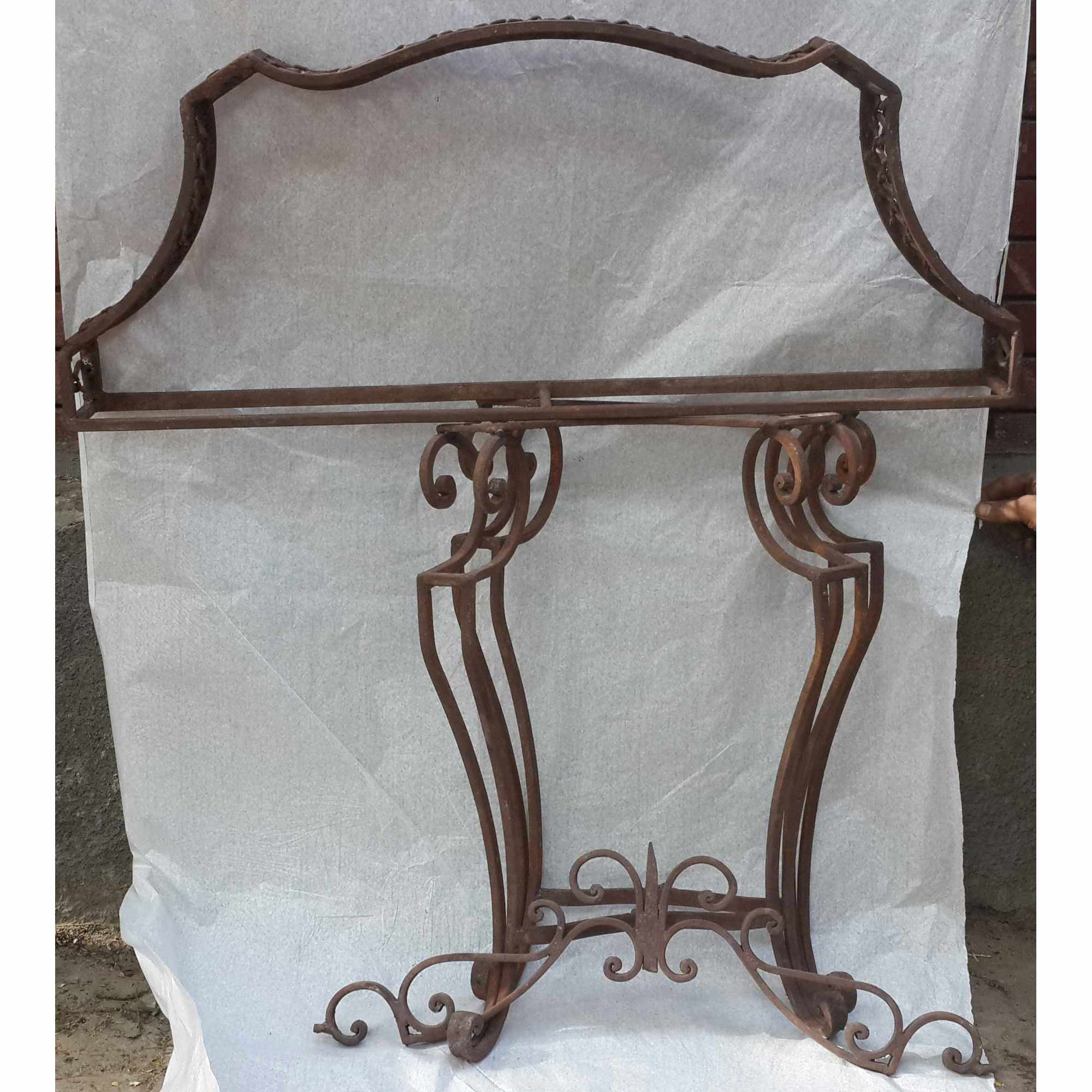 wrought iron console copper top vanity