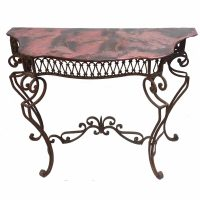 wrought iron console copper sink top vanity