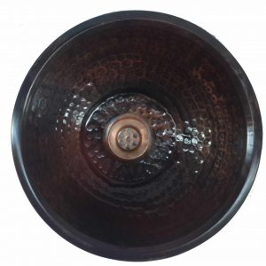 Textured Oil Rubbed Bronze Vessel Copper Sink Counter Top Bowl
