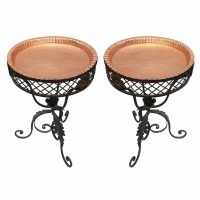 pair wrought iron tables copper tops