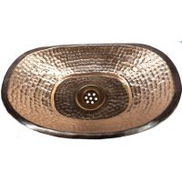 Polished Small Traditional Shiny Bathtub Shape Vessel Copper Sink