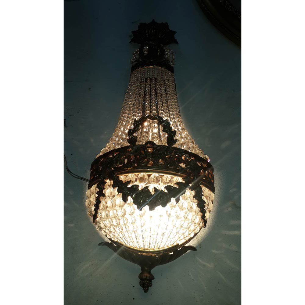 pair crystal sconces