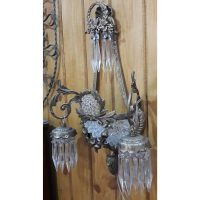 Pair Antique Replica Crystal Bronze French Empire Ornate Wall Sconces