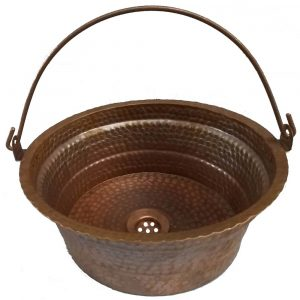 Brown Patina Vessel Bucket Sink Textured Copper Washbasin