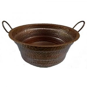 Brown Patina Vessel Handles Copper Sink Flame Heated Basin