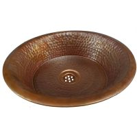 Brown Antique Patina Vessel Pan Textured Copper Sink