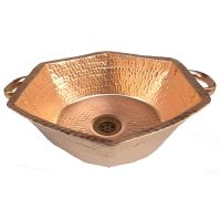 Hexagon Six sides Vessel Polished Textured Copper Sink