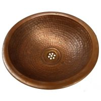 Drop-in Top Mount Antique Patina Rustic Small Copper Sink Bowl