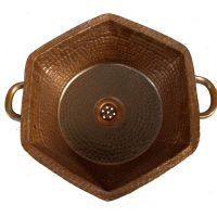 Shabby Chic Vintage Brown Hexagon Vessel Handles Copper Sink