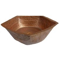 Shabby Chic antique Brown Pentagon Vessel Copper Sink