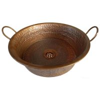 Firing Patina Vintage Brown Pan Miners Vessel Copper Sink