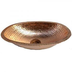 Traditional Polished Vessel Oval Small Naked Bare Copper Sink
