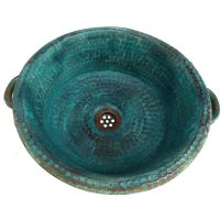 Aged Oxidized Rustic Verdigris antique Handles Vessel Copper Sink