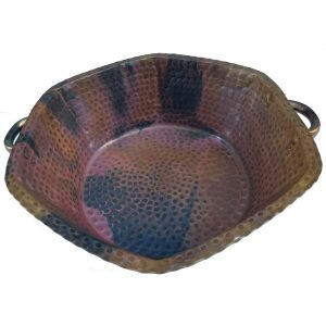Portable Rustic Vintage Foot Hexagon Copper Spa Pedicure Bowl