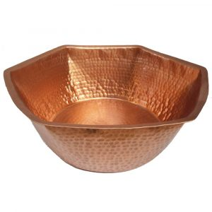 Portable Unfinished Polished Foot Rub Massage Copper Spa Hexagon Bowl