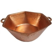 Portable Polished Naked Copper Pedicure Spa Hexagon Bowl