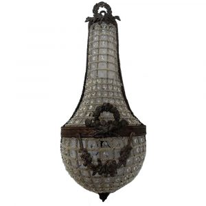 French Empire Pair Antique Bronze Basket Wall Sconces