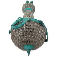 Aged Verde French Antique Basket Crystal Chandelier Replica