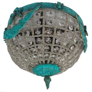 Aged Verde Vintage Basket Crystal Flush Mount Chandelier