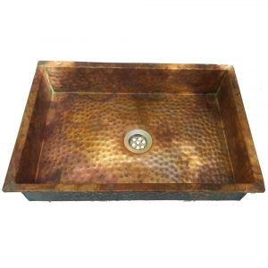 Aged Rustic Anti Microbial Hammered Copper Kitchen Sink