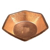 Copper Manicure Bowl Hand Hammered Hexagon Design