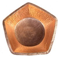 Copper Manicure Bowl Hand Hammered Pentagon Design