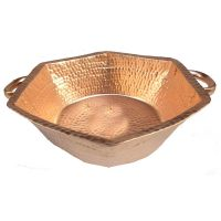 Copper Manicure Bowl Hand Hammered Handles Hexagon