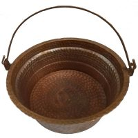 Copper Kettle Cauldron Decorative Bowl, Hinged Handle